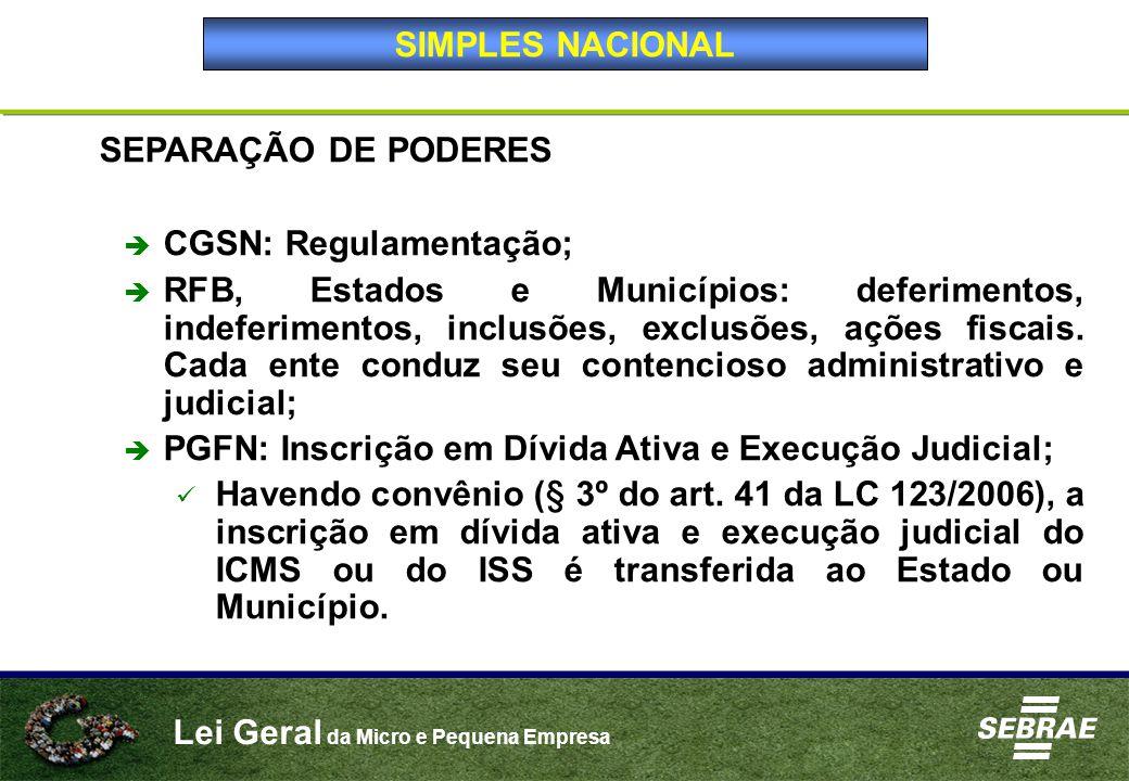 Lei Geral da Micro e Pequena Empresa SEPARAÇÃO DE PODERES  CGSN: Regulamentação;  RFB, Estados e Municípios: deferimentos, indeferimentos, inclusões, exclusões, ações fiscais.