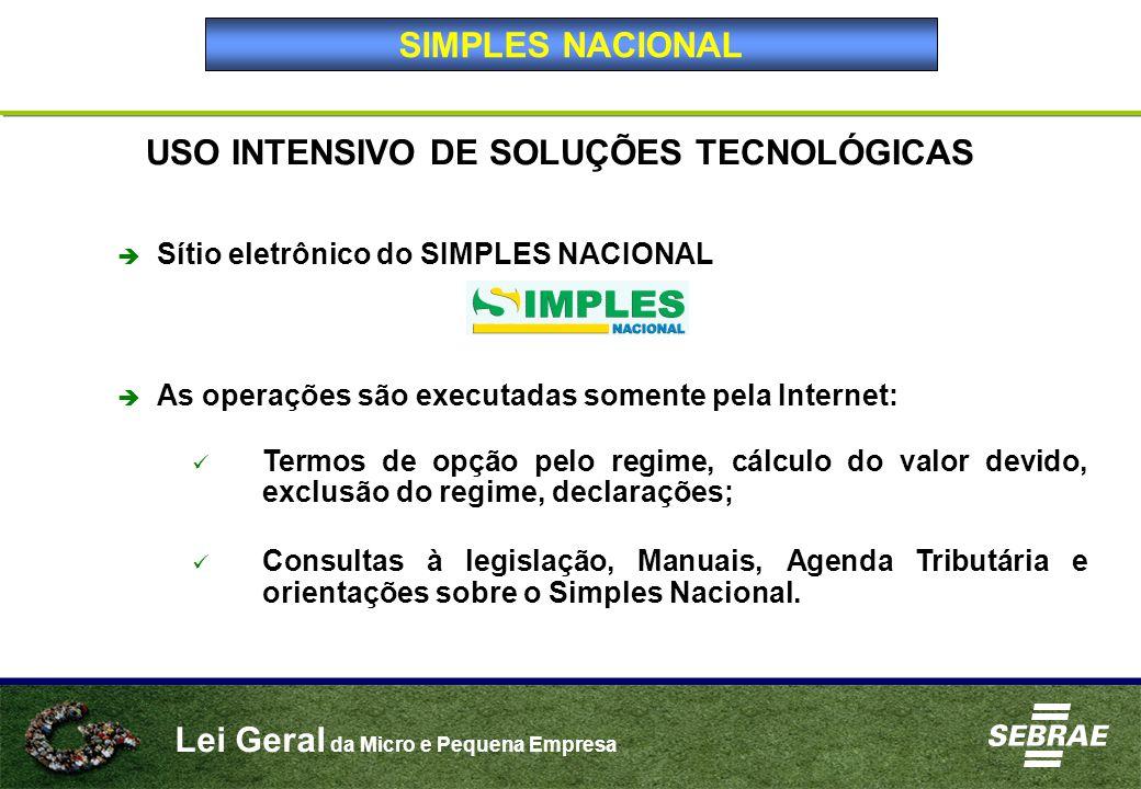 Lei Geral da Micro e Pequena Empresa USO INTENSIVO DE SOLUÇÕES TECNOLÓGICAS  Sítio eletrônico do SIMPLES NACIONAL  As operações são executadas somen