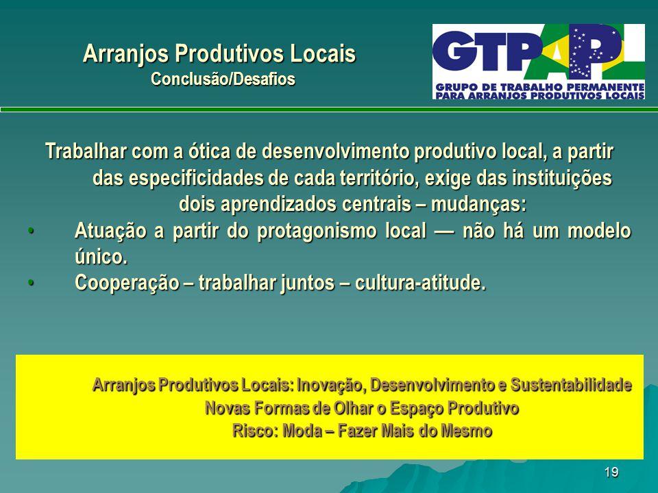 19 Trabalhar com a ótica de desenvolvimento produtivo local, a partir das especificidades de cada território, exige das instituições dois aprendizados