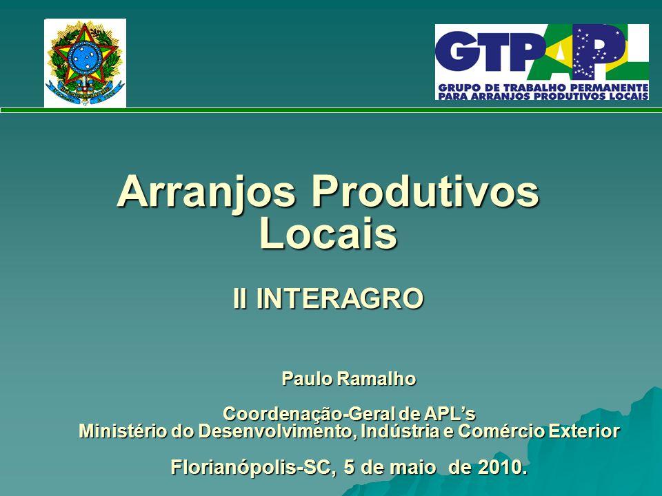 Arranjos Produtivos Locais II INTERAGRO Paulo Ramalho Coordenação-Geral de APL's Ministério do Desenvolvimento, Indústria e Comércio Exterior Florianó