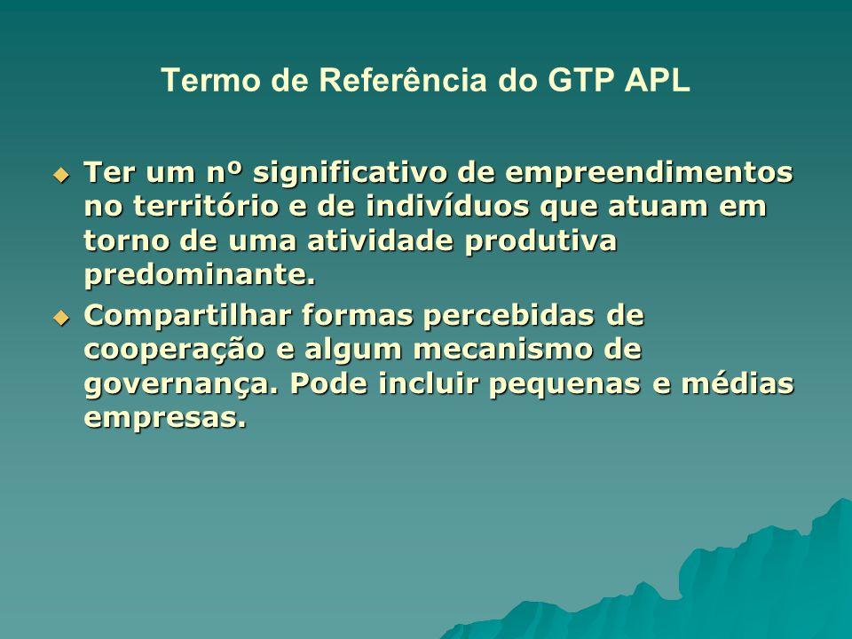 Termo de Referência do GTP APL  Ter um nº significativo de empreendimentos no território e de indivíduos que atuam em torno de uma atividade produtiv