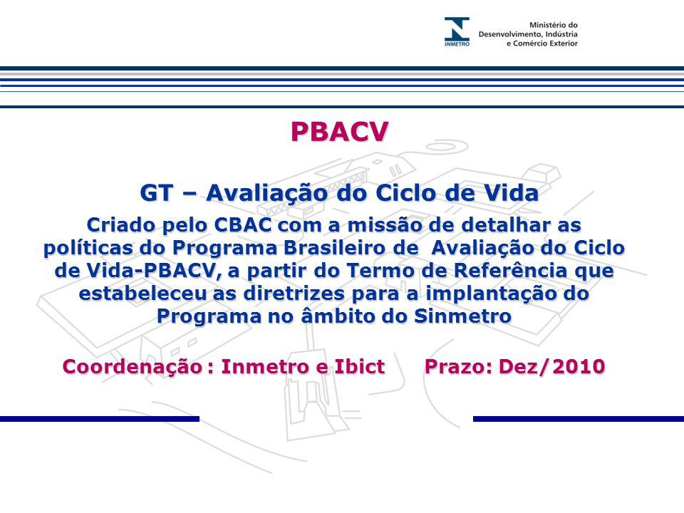 PBACV GT – Avaliação do Ciclo de Vida Criado pelo CBAC com a missão de detalhar as políticas do Programa Brasileiro de Avaliação do Ciclo de Vida-PBACV, a partir do Termo de Referência que estabeleceu as diretrizes para a implantação do Programa no âmbito do Sinmetro Coordenação : Inmetro e Ibict Prazo: Dez/2010