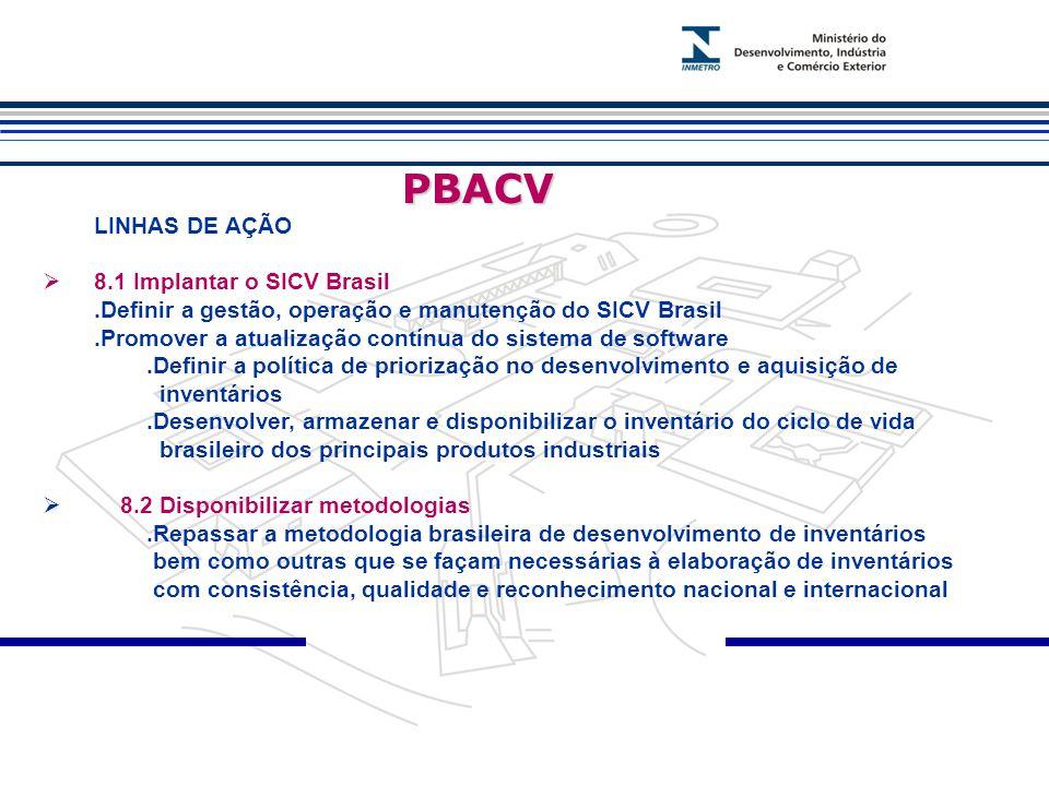 PBACV PBACV LINHAS DE AÇÃO  8.1 Implantar o SICV Brasil.Definir a gestão, operação e manutenção do SICV Brasil.Promover a atualização contínua do sistema de software.Definir a política de priorização no desenvolvimento e aquisição de inventários.Desenvolver, armazenar e disponibilizar o inventário do ciclo de vida brasileiro dos principais produtos industriais  8.2 Disponibilizar metodologias.Repassar a metodologia brasileira de desenvolvimento de inventários bem como outras que se façam necessárias à elaboração de inventários com consistência, qualidade e reconhecimento nacional e internacional