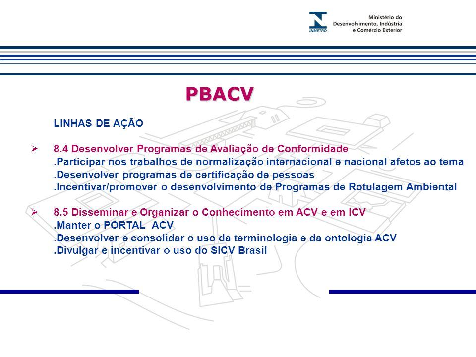 PBACV PBACV LINHAS DE AÇÃO  8.4 Desenvolver Programas de Avaliação de Conformidade.Participar nos trabalhos de normalização internacional e nacional afetos ao tema.Desenvolver programas de certificação de pessoas.Incentivar/promover o desenvolvimento de Programas de Rotulagem Ambiental  8.5 Disseminar e Organizar o Conhecimento em ACV e em ICV.Manter o PORTAL ACV.Desenvolver e consolidar o uso da terminologia e da ontologia ACV.Divulgar e incentivar o uso do SICV Brasil