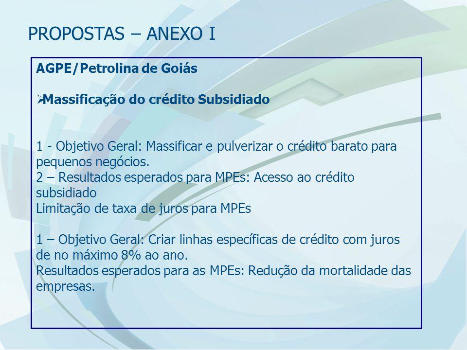 AGPE/Petrolina de Goiás  Massificação do crédito Subsidiado 1 - Objetivo Geral: Massificar e pulverizar o crédito barato para pequenos negócios.