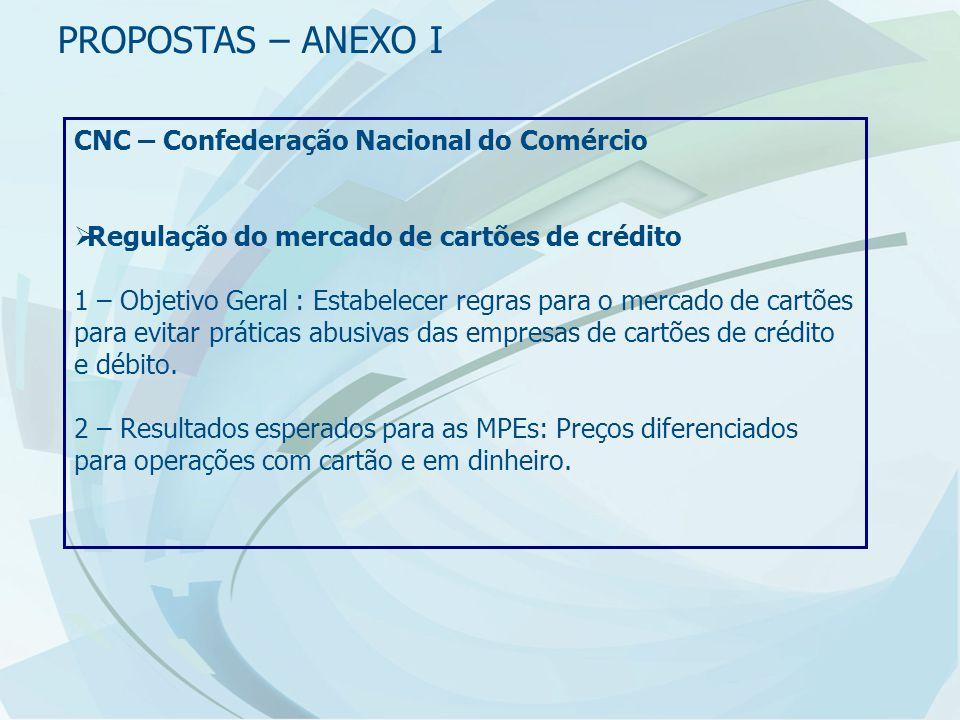 CNC – Confederação Nacional do Comércio  Regulação do mercado de cartões de crédito 1 – Objetivo Geral : Estabelecer regras para o mercado de cartões para evitar práticas abusivas das empresas de cartões de crédito e débito.