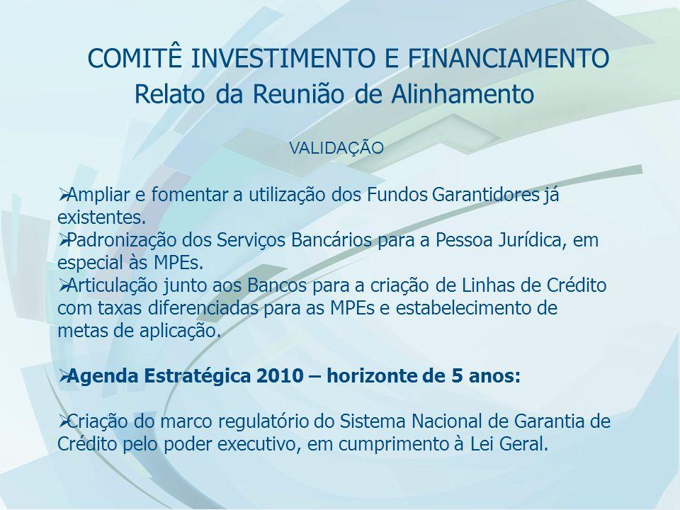 Relato da Reunião de Alinhamento VALIDAÇÃO  Ampliar e fomentar a utilização dos Fundos Garantidores já existentes.