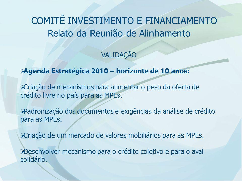 Relato da Reunião de Alinhamento VALIDAÇÃO  Agenda Estratégica 2010 – horizonte de 10 anos:  Criação de mecanismos para aumentar o peso da oferta de crédito livre no país para as MPEs.