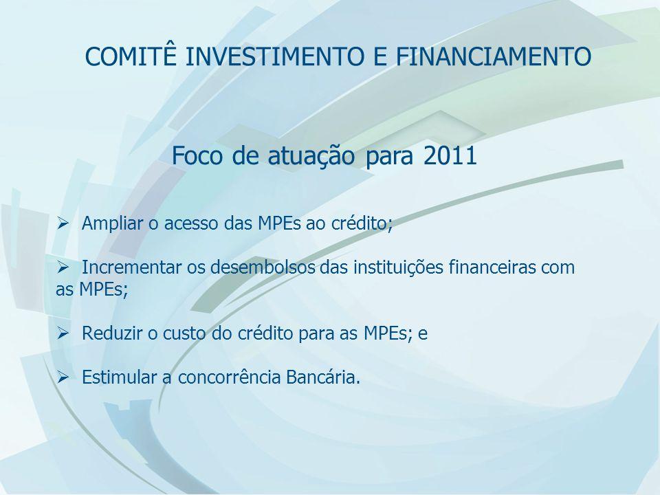 Foco de atuação para 2011  Ampliar o acesso das MPEs ao crédito;  Incrementar os desembolsos das instituições financeiras com as MPEs;  Reduzir o custo do crédito para as MPEs; e  Estimular a concorrência Bancária.