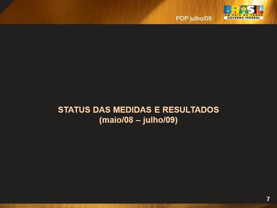 7 STATUS DAS MEDIDAS E RESULTADOS (maio/08 – julho/09) PDP julho/09