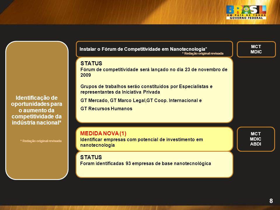 STATUS Foram identificadas 93 empresas de base nanotecnológica 8 Identificação de oportunidades para o aumento da competitividade da indústria naciona