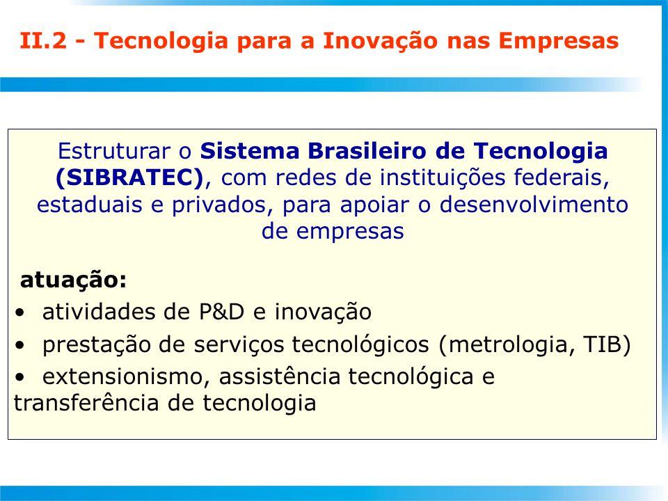 II.2 - Tecnologia para a Inovação nas Empresas Estruturar o Sistema Brasileiro de Tecnologia (SIBRATEC), com redes de instituições federais, estaduais e privados, para apoiar o desenvolvimento de empresas atuação: atividades de P&D e inovação prestação de serviços tecnológicos (metrologia, TIB) extensionismo, assistência tecnológica e transferência de tecnologia