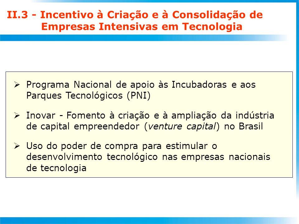 II.3 - Incentivo à Criação e à Consolidação de Empresas Intensivas em Tecnologia  Programa Nacional de apoio às Incubadoras e aos Parques Tecnológicos (PNI)  Inovar - Fomento à criação e à ampliação da indústria de capital empreendedor (venture capital) no Brasil  Uso do poder de compra para estimular o desenvolvimento tecnológico nas empresas nacionais de tecnologia