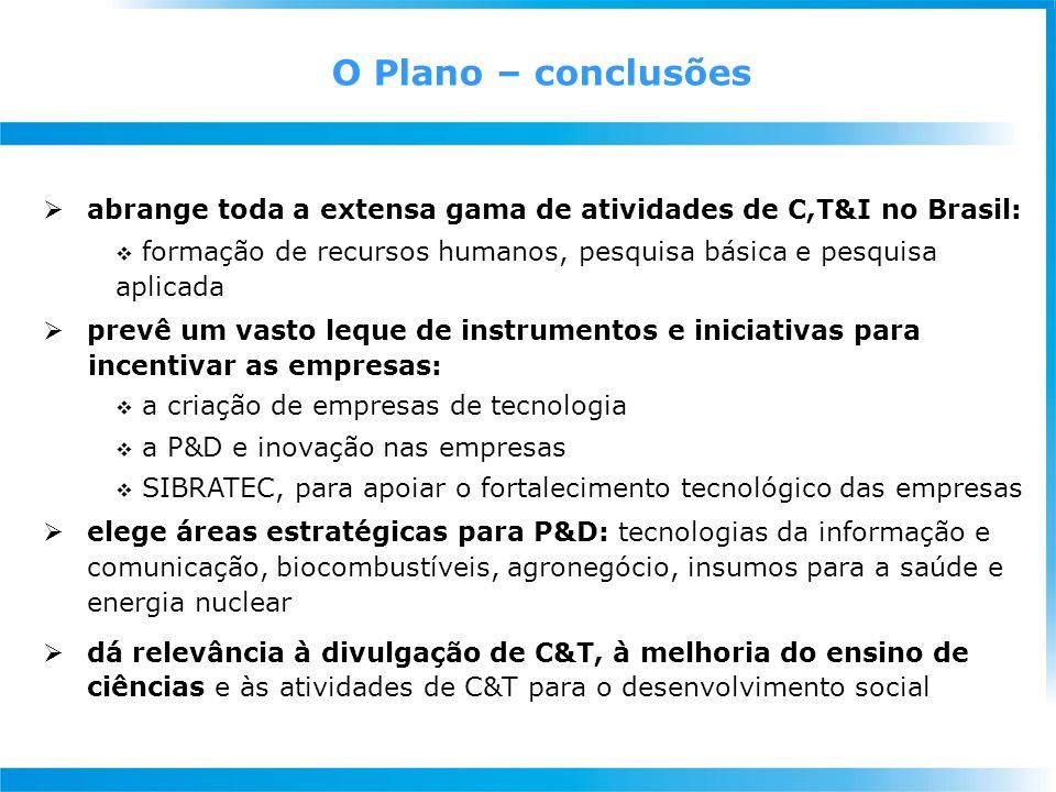  abrange toda a extensa gama de atividades de C,T&I no Brasil:  formação de recursos humanos, pesquisa básica e pesquisa aplicada  prevê um vasto l