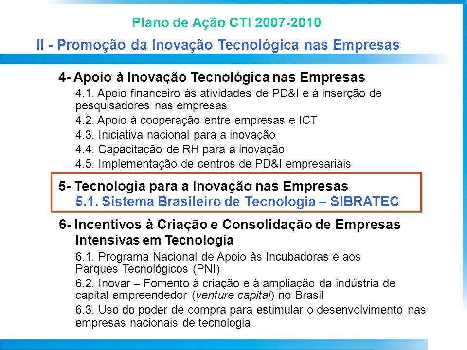 Plano de Ação CTI 2007-2010 4- Apoio à Inovação Tecnológica nas Empresas 4.1. Apoio financeiro às atividades de PD&I e à inserção de pesquisadores nas