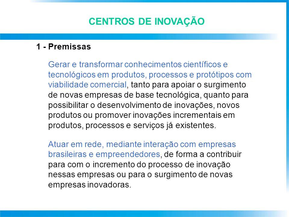 CENTROS DE INOVAÇÃO 1 - Premissas Gerar e transformar conhecimentos científicos e tecnológicos em produtos, processos e protótipos com viabilidade com