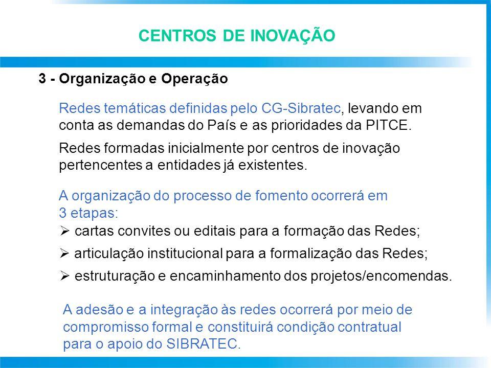 3 - Organização e Operação Redes temáticas definidas pelo CG-Sibratec, levando em conta as demandas do País e as prioridades da PITCE. Redes formadas