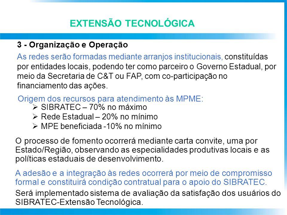 EXTENSÃO TECNOLÓGICA 3 - Organização e Operação A s redes serão formadas mediante arranjos institucionais, constituídas por entidades locais, podendo ter como parceiro o Governo Estadual, por meio da Secretaria de C&T ou FAP, com co-participação no financiamento das ações.
