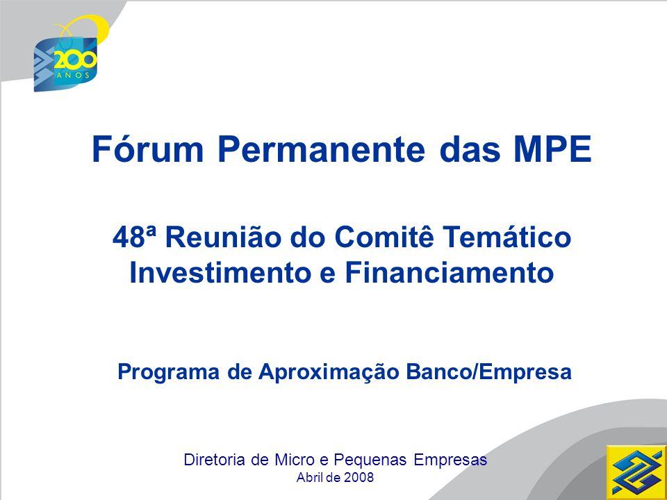 Diretoria de Micro e Pequenas Empresas Abril de 2008 Fórum Permanente das MPE 48ª Reunião do Comitê Temático Investimento e Financiamento Programa de Aproximação Banco/Empresa