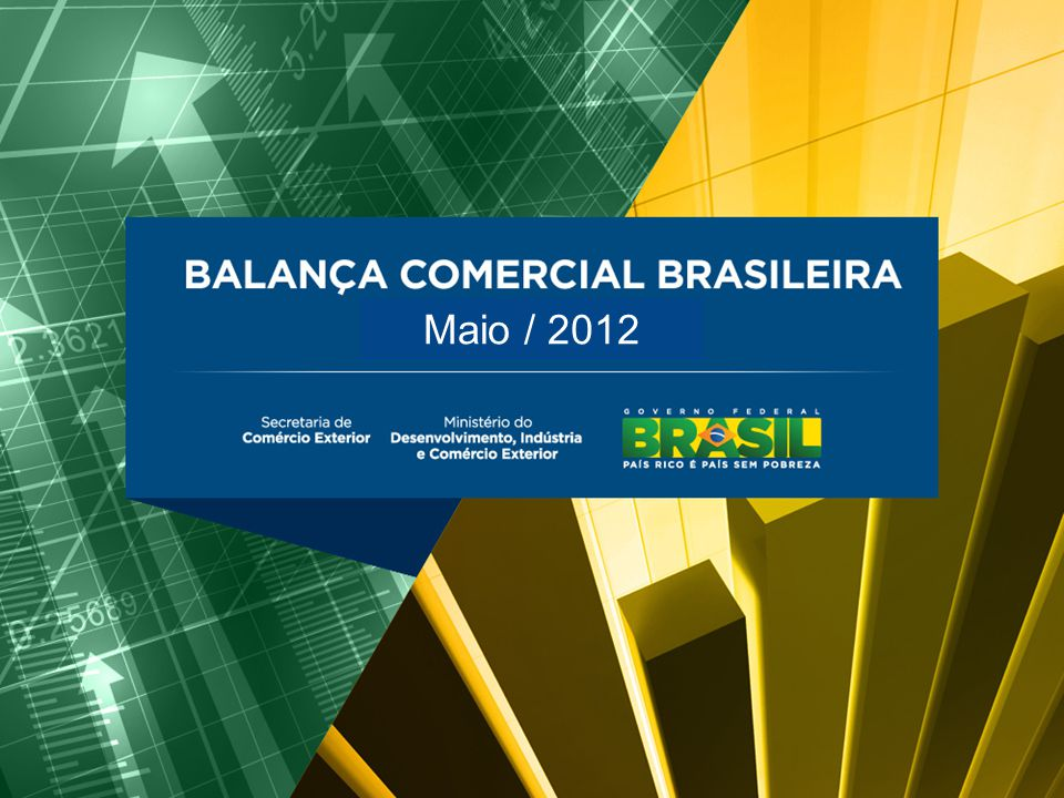 BALANÇA COMERCIAL BRASILEIRA Abril/2012 Maio/2012 Destaques  Maio: -Exportação: recorde para maio (US$ 23,215 bi); anterior mai-11: US$ 23,209 bi; -Importação: recorde para maio (US$ 20,3 bi, +1,7%); anterior mai-11: US$ 19,7 bi; -Corr.