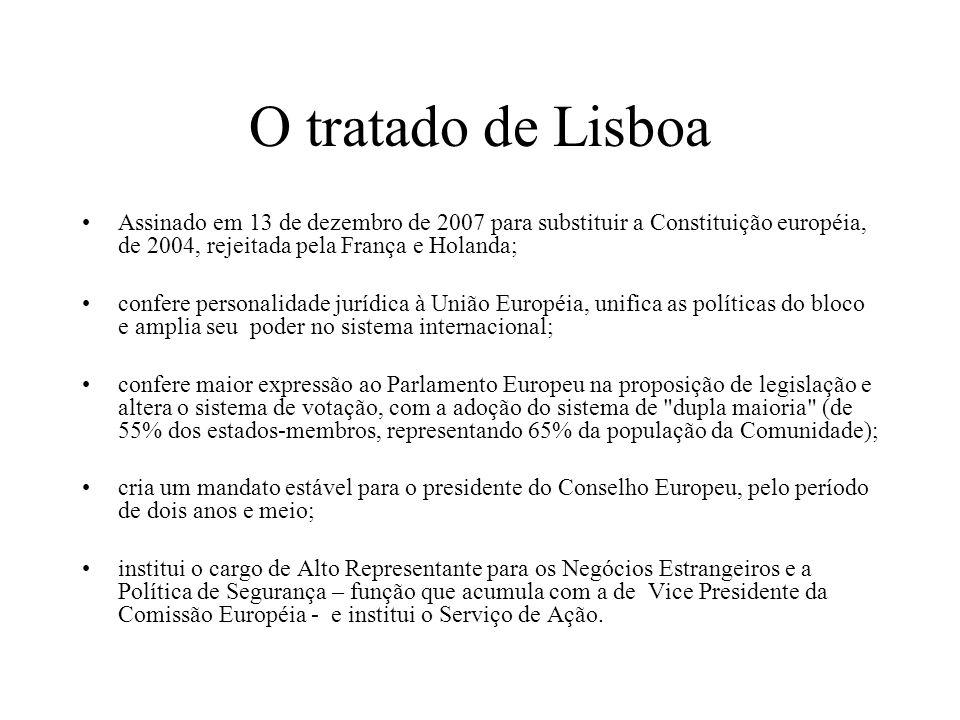 O tratado de Lisboa Assinado em 13 de dezembro de 2007 para substituir a Constituição européia, de 2004, rejeitada pela França e Holanda; confere pers