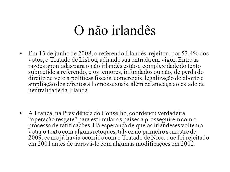 O não irlandês Em 13 de junho de 2008, o referendo Irlandês rejeitou, por 53,4% dos votos, o Tratado de Lisboa, adiando sua entrada em vigor. Entre as
