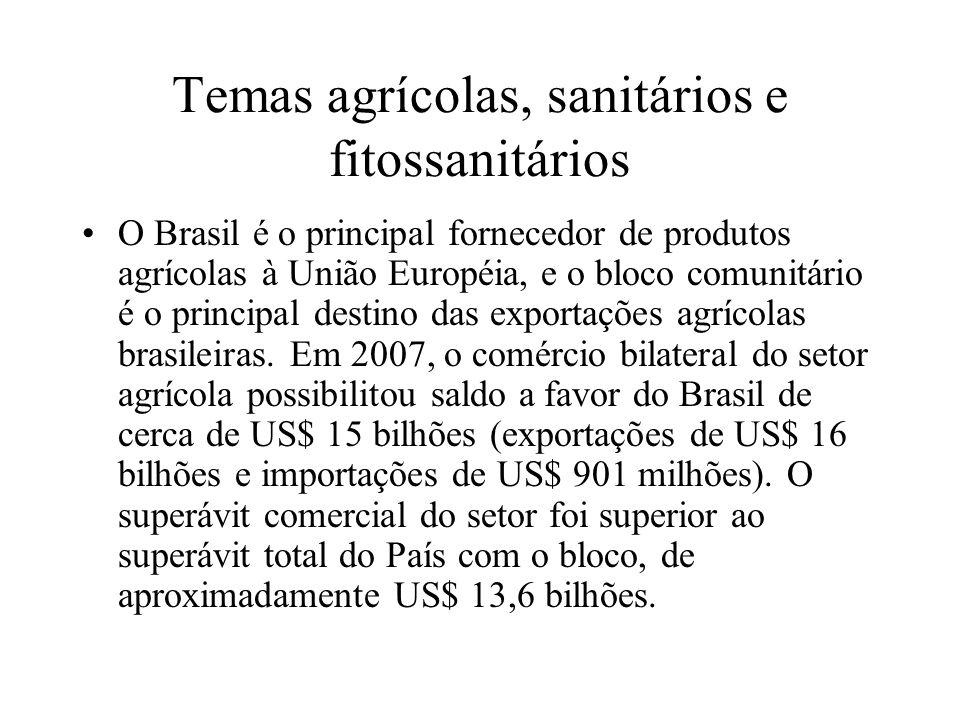 Temas agrícolas, sanitários e fitossanitários O Brasil é o principal fornecedor de produtos agrícolas à União Européia, e o bloco comunitário é o prin