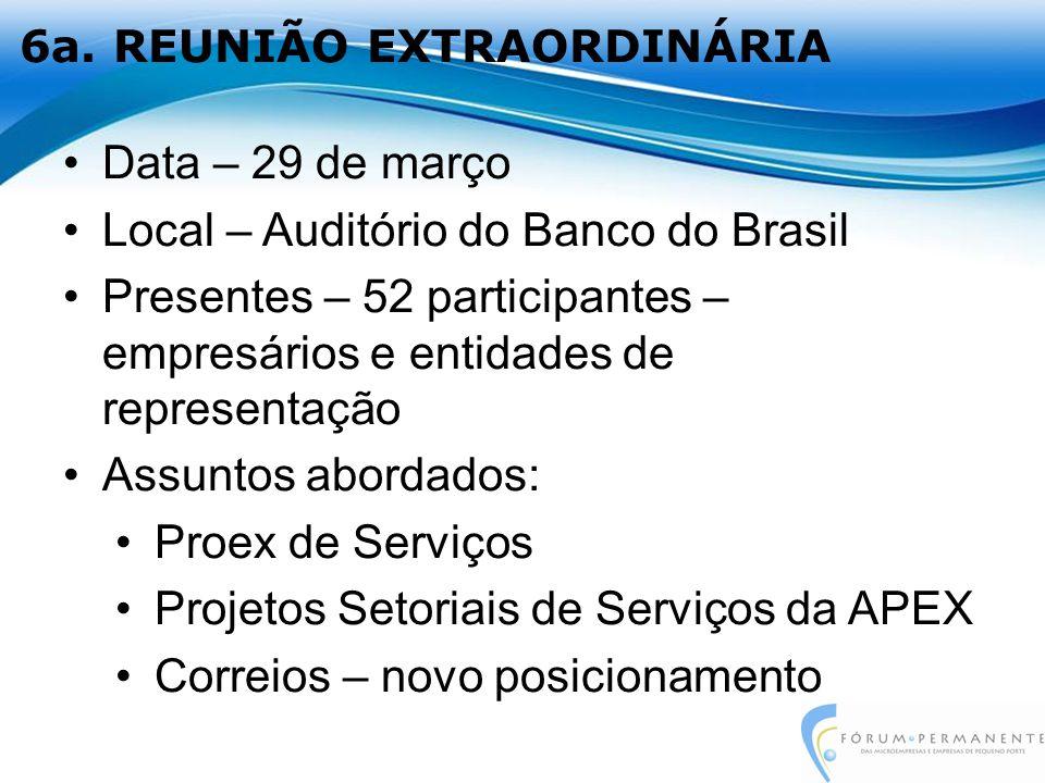 6a. REUNIÃO EXTRAORDINÁRIA Data – 29 de março Local – Auditório do Banco do Brasil Presentes – 52 participantes – empresários e entidades de represent