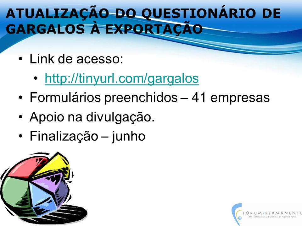ATUALIZAÇÃO DO QUESTIONÁRIO DE GARGALOS À EXPORTAÇÃO Link de acesso: http://tinyurl.com/gargalos Formulários preenchidos – 41 empresas Apoio na divulgação.