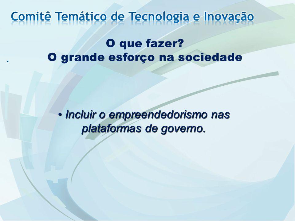 . O que fazer? O grande esforço na sociedade Incluir o empreendedorismo nas plataformas de governo. Incluir o empreendedorismo nas plataformas de gove