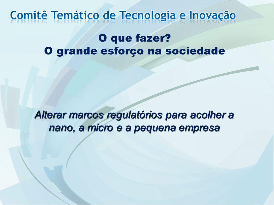 O que fazer? O grande esforço na sociedade Alterar marcos regulatórios para acolher a nano, a micro e a pequena empresa