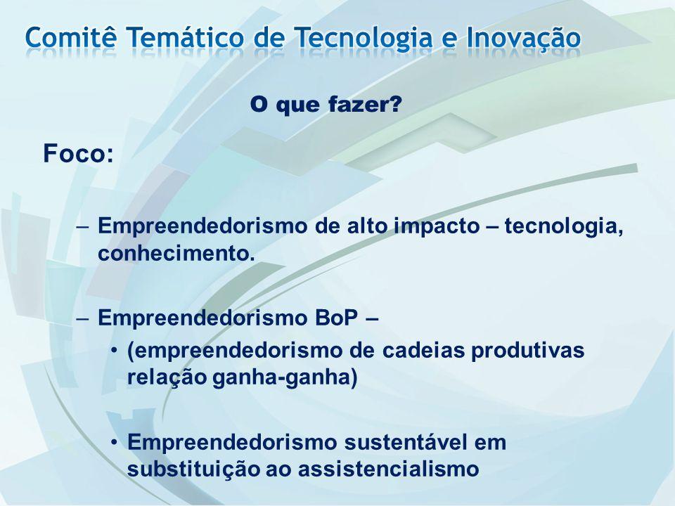 O que fazer? Foco: –Empreendedorismo de alto impacto – tecnologia, conhecimento. –Empreendedorismo BoP – (empreendedorismo de cadeias produtivas relaç