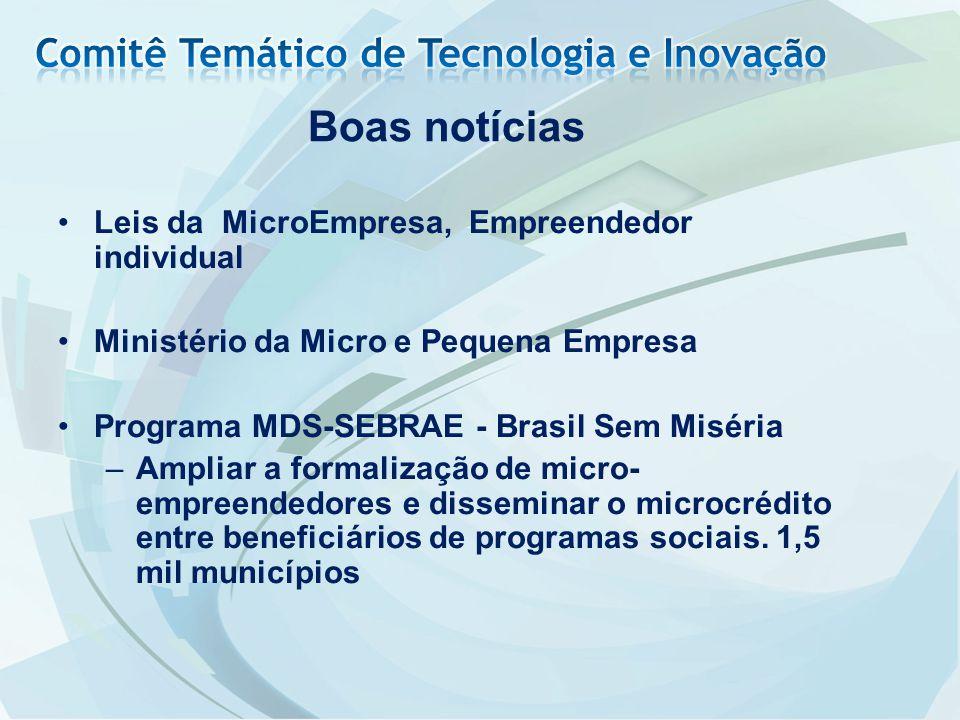 Leis da MicroEmpresa, Empreendedor individual Ministério da Micro e Pequena Empresa Programa MDS-SEBRAE - Brasil Sem Miséria –Ampliar a formalização d