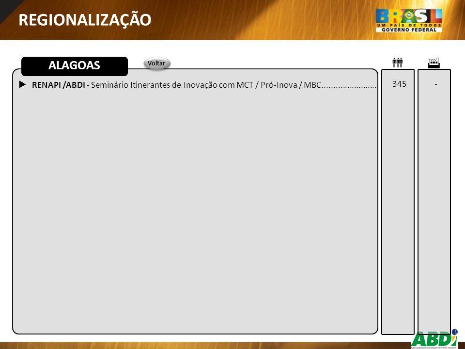 REGIONALIZAÇÃO  RENAPI /ABDI - Seminário Itinerantes de Inovação com MCT / Pró-Inova / MBC........................ ALAGOAS 345 -   Voltar