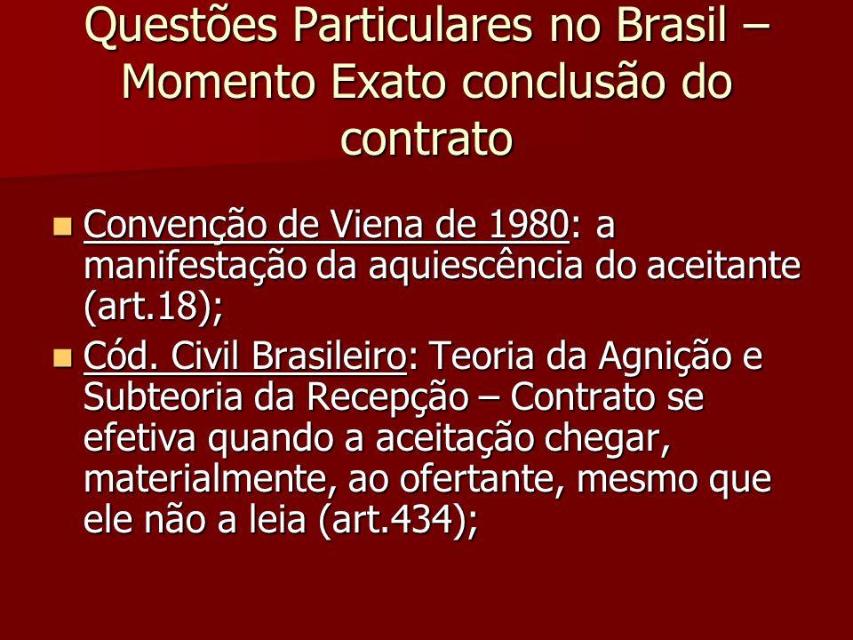 Questões Particulares no Brasil – Momento Exato conclusão do contrato Convenção de Viena de 1980: a manifestação da aquiescência do aceitante (art.18)