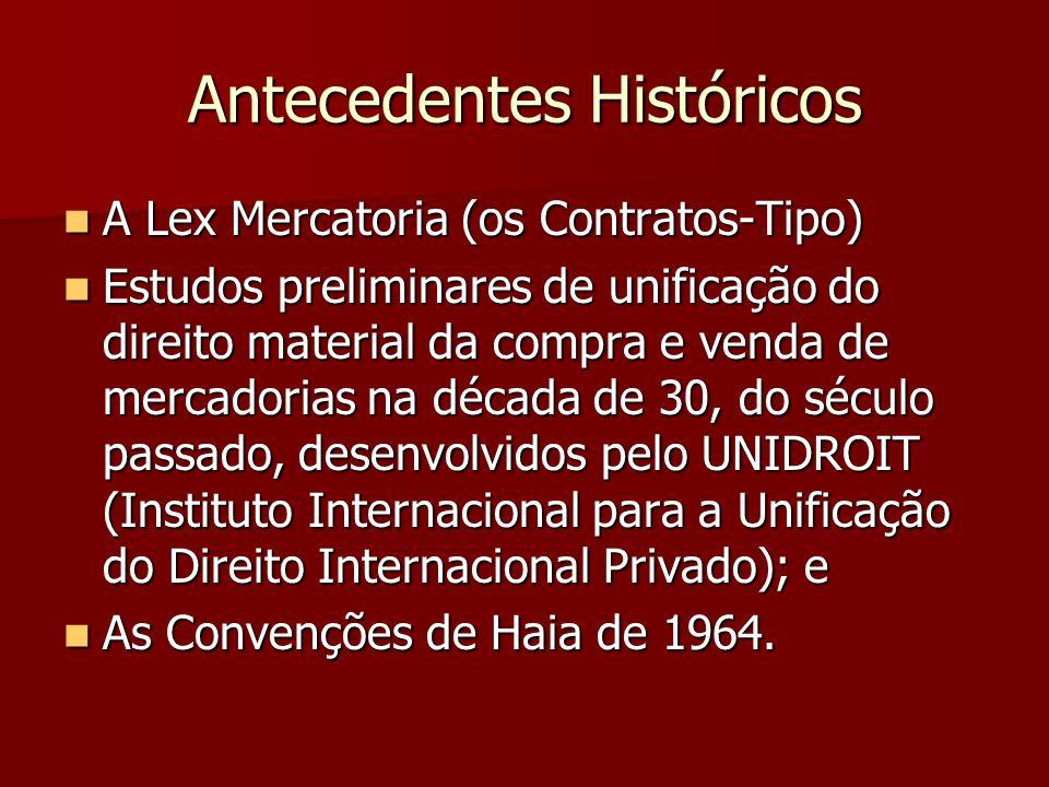 Antecedentes Históricos A Lex Mercatoria (os Contratos-Tipo) A Lex Mercatoria (os Contratos-Tipo) Estudos preliminares de unificação do direito materi