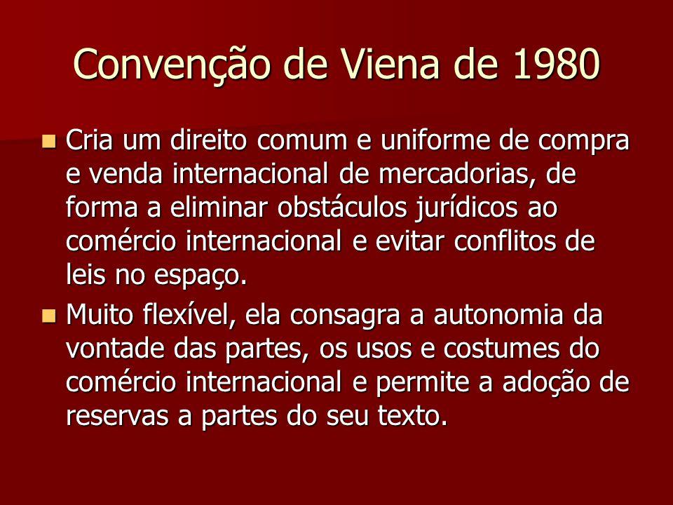Convenção de Viena de 1980 Cria um direito comum e uniforme de compra e venda internacional de mercadorias, de forma a eliminar obstáculos jurídicos a