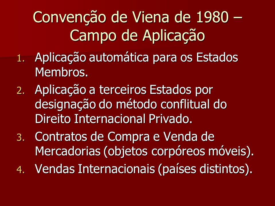 Convenção de Viena de 1980 – Campo de Aplicação 1. Aplicação automática para os Estados Membros. 2. Aplicação a terceiros Estados por designação do mé