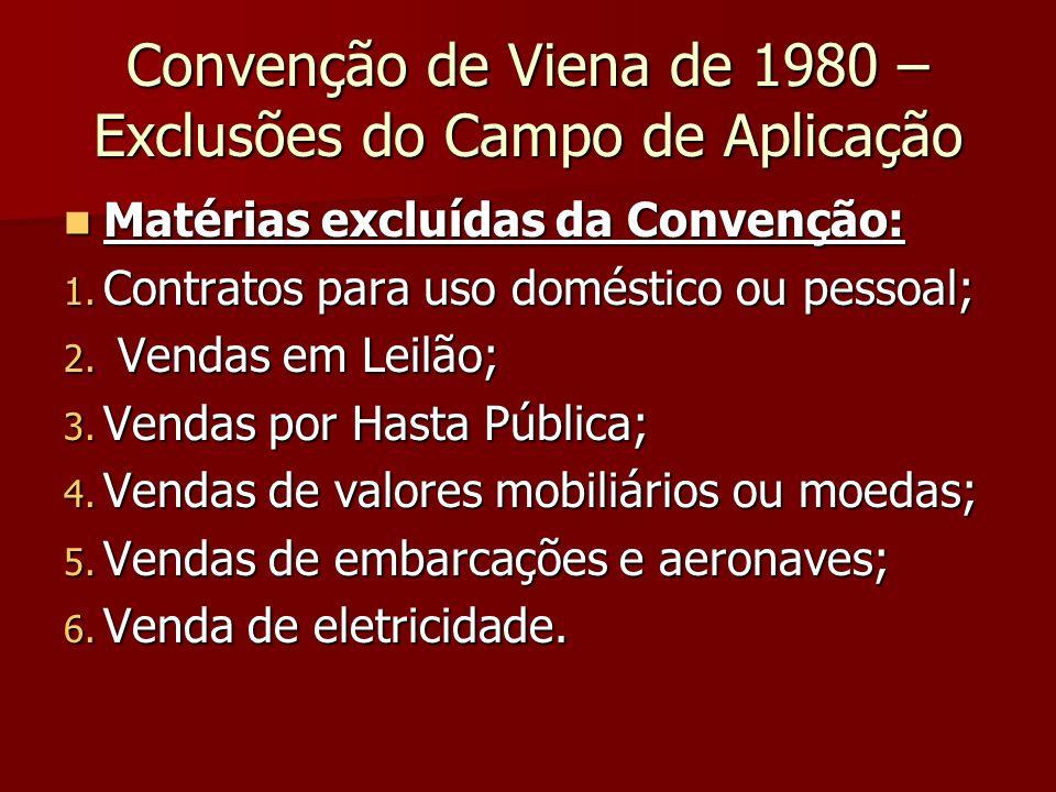 Convenção de Viena de 1980 – Exclusões do Campo de Aplicação Matérias excluídas da Convenção: Matérias excluídas da Convenção: 1. Contratos para uso d