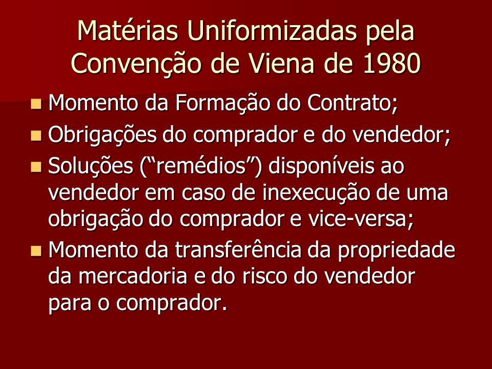 Matérias Uniformizadas pela Convenção de Viena de 1980 Momento da Formação do Contrato; Momento da Formação do Contrato; Obrigações do comprador e do