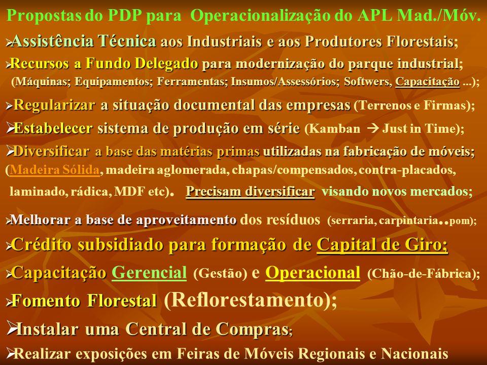 Propostas do PDP para Operacionalização do APL Mad./Móv.