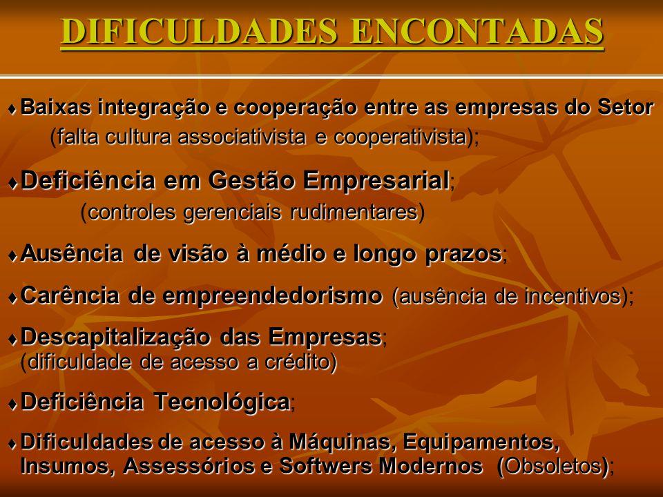 DIFICULDADES ENCONTADAS  Baixas integração e cooperação entre as empresas do Setor falta cultura associativista e cooperativista (falta cultura assoc