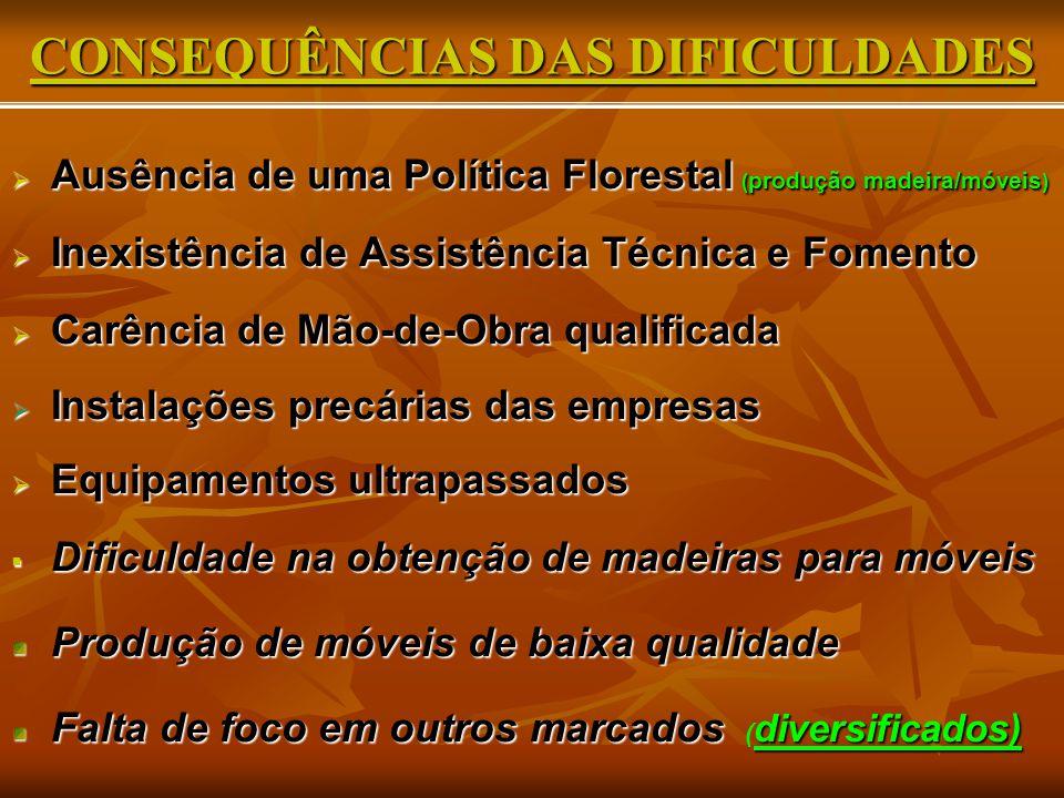 CONSEQUÊNCIAS DAS DIFICULDADES  Ausência de uma Política Florestal ( produção madeira/móveis )  Inexistência de Assistência Técnica e Fomento  Carê