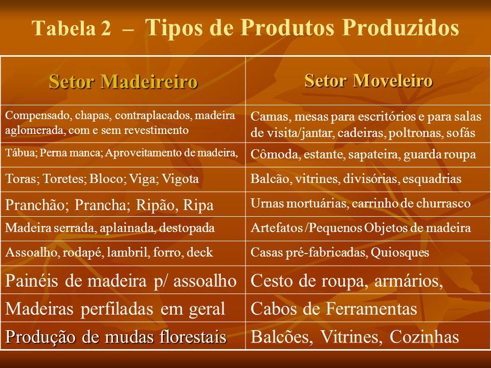Tabela 2 – Tipos de Produtos Produzidos Setor Madeireiro Setor Moveleiro Compensado, chapas, contraplacados, madeira aglomerada, com e sem revestiment