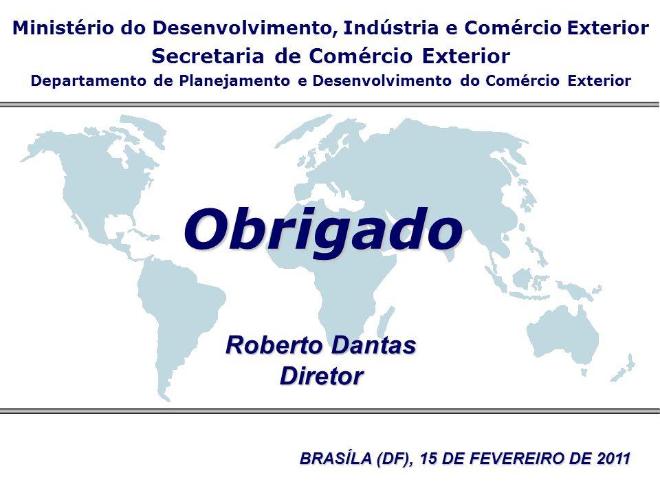 Obrigado Roberto Dantas Diretor Ministério do Desenvolvimento, Indústria e Comércio Exterior Secretaria de Comércio Exterior Departamento de Planejame