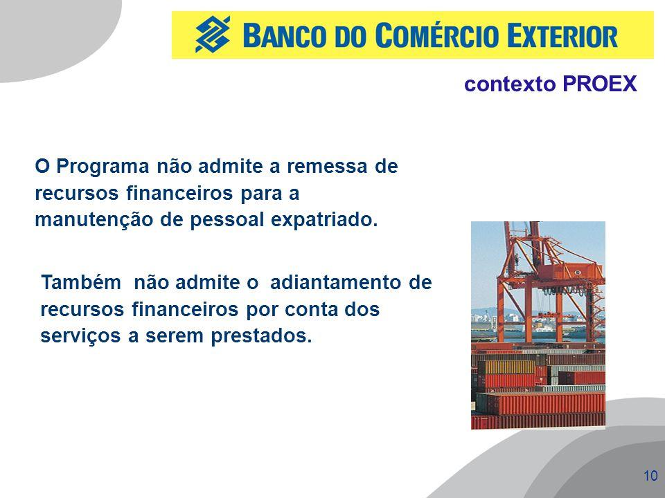 10 O Programa não admite a remessa de recursos financeiros para a manutenção de pessoal expatriado. Também não admite o adiantamento de recursos finan