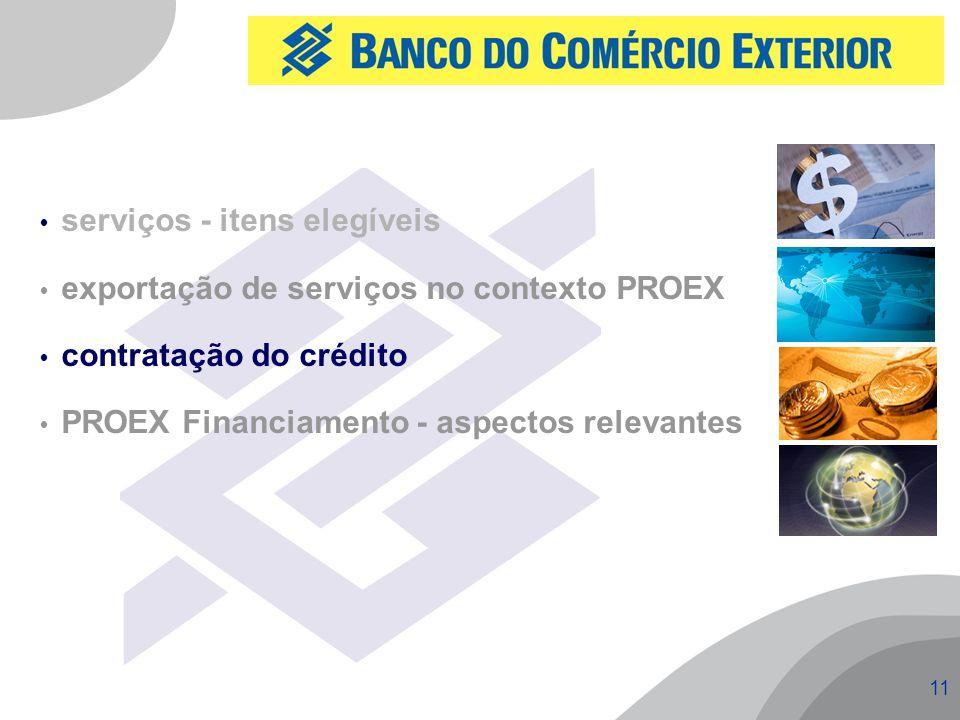 11  serviços - itens elegíveis  exportação de serviços no contexto PROEX  contratação do crédito  PROEX Financiamento - aspectos relevantes