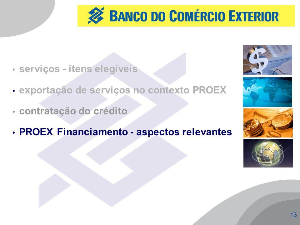13  serviços - itens elegíveis  exportação de serviços no contexto PROEX  contratação do crédito  PROEX Financiamento - aspectos relevantes