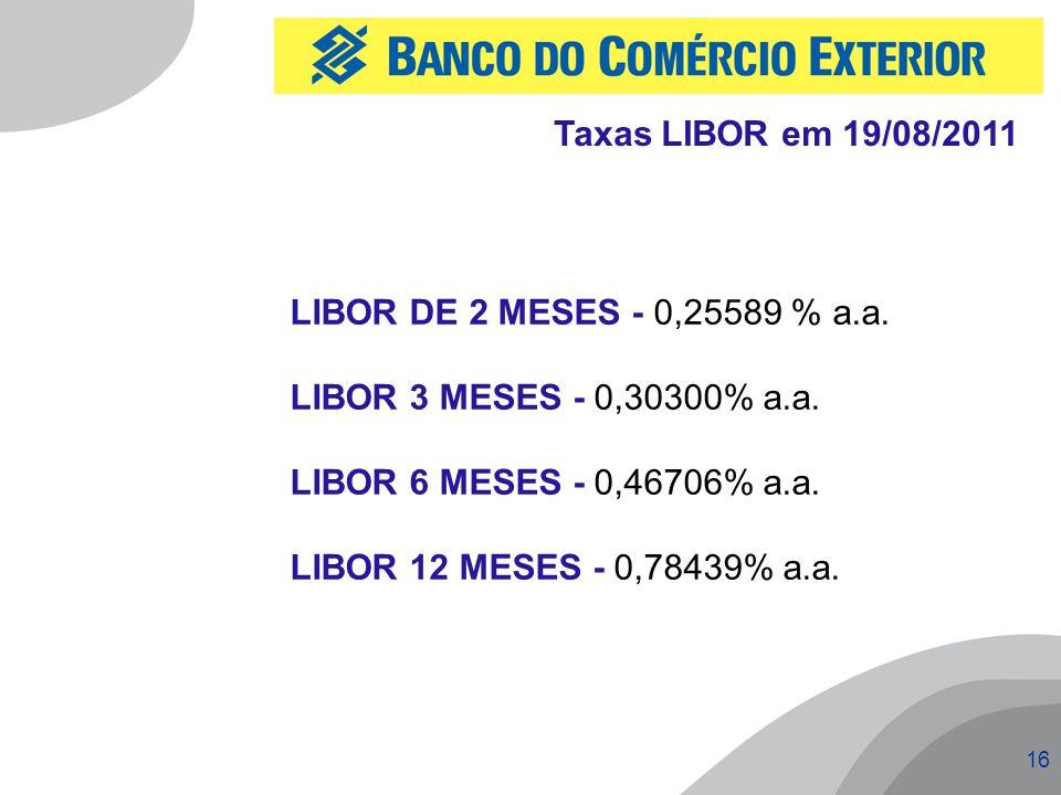16 Taxas LIBOR em 19/08/2011 LIBOR DE 2 MESES - 0,25589 % a.a. LIBOR 3 MESES - 0,30300% a.a. LIBOR 6 MESES - 0,46706% a.a. LIBOR 12 MESES - 0,78439% a