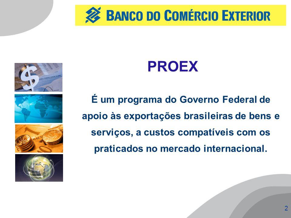 2 É um programa do Governo Federal de apoio às exportações brasileiras de bens e serviços, a custos compatíveis com os praticados no mercado internaci